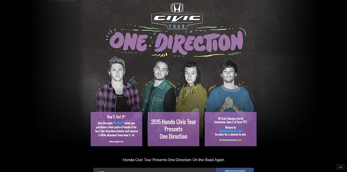 2015 Honda Civic Tour Drive Away With One Direction Sweepstakes