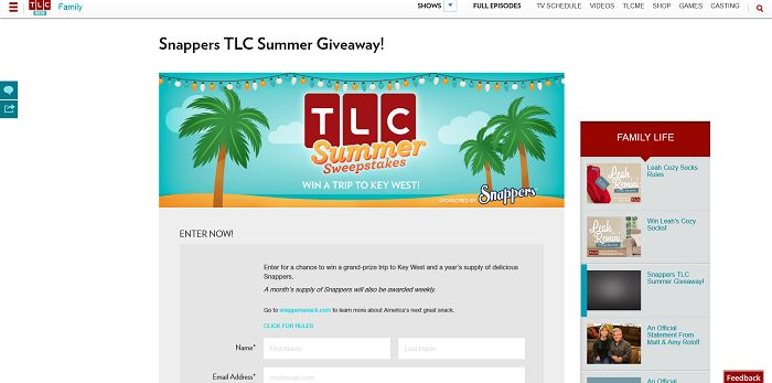 TLC.com/Snappers - TLC Summer Sweepstakes