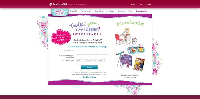 AmericanGirl.com/TrulyAwesome - American Girl Truly AwesoME Sweepstakes