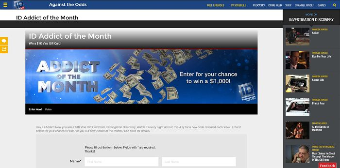 ID Addict Of The Month Sweepstakes