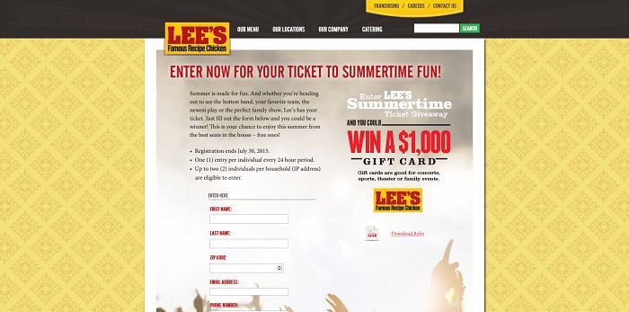 Lee's Famous Recipe Chicken Summertime Ticket Giveaway