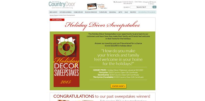 Country Door Holiday Décor Sweepstakes
