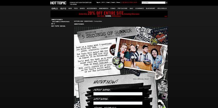 Hot Topic 5 Seconds of Summer Fan Contest (HotTopic.com/5SOSFanContest)