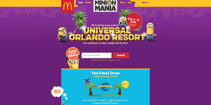 minions at mcdonalds com sweepstakes minions at mcd the final draw starts today 3645