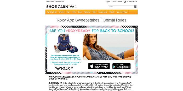 Shoe Carnival Roxy App Sweepstakes