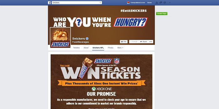 Snickers Brand NFL 2015 Game And Sweepstakes on Facebook (GameDay.Snickers.com)