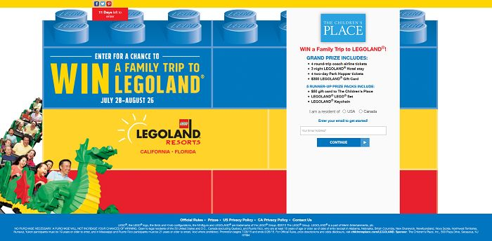 The Children's Place and LEGOLAND: 30 Days Of Awesome Sweepstakes (ChildrensPlace.com/Legoland
