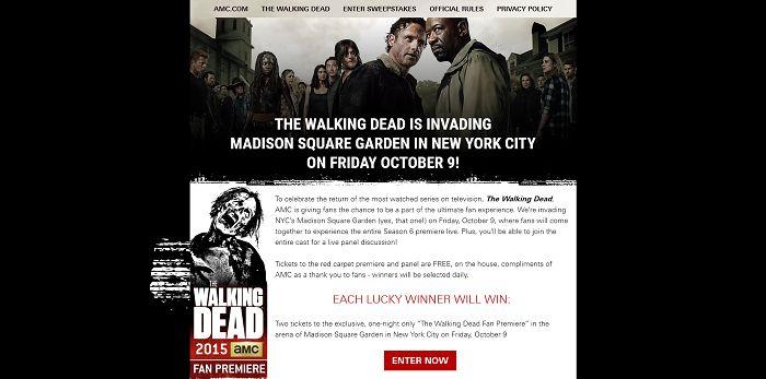 AMC.com/FanPremiereSweepstakes - The Walking Dead Fan Premiere Sweepstakes