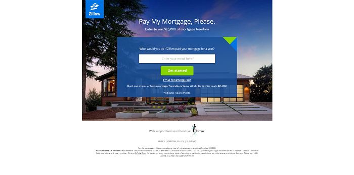 ZillowPay My Mortgage, Please Sweepstakes