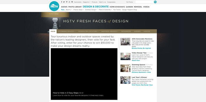 HGTV.com/FreshFaces - HGTV Fresh Face Of Design Awards Giveaway