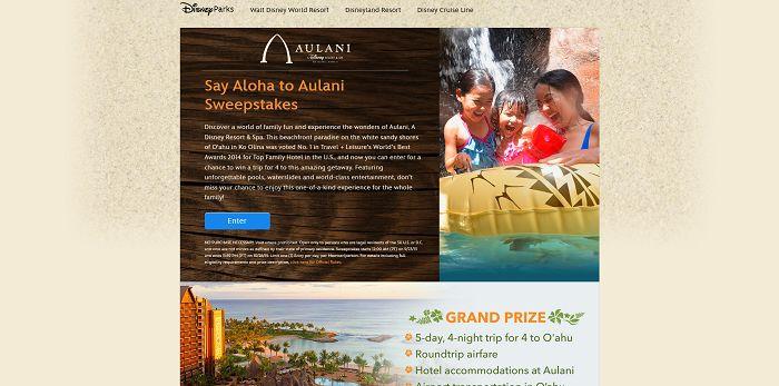 Disney.com/SayAlohaToAulani - Disney Say Aloha To Aulani Sweepstakes