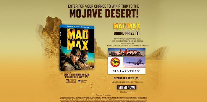 Mad Max Fury Road Sweepstakes (MadMaxFuryRoadSweepstakes.com)