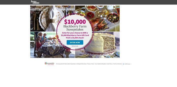 BHG.com/BigWin - BHG $10,000 Blackberry Farm Sweepstakes