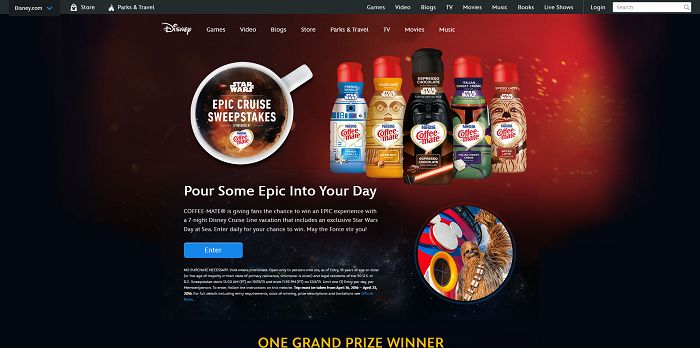 Disney.com/EpicCruise - Disney And Coffee-Mate Epic Cruise Sweepstakes