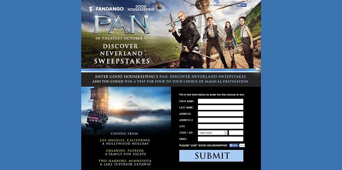 GoodHousekeeping.com/Pan - Good Housekeeping's PAN Discover Neverland Sweepstakes