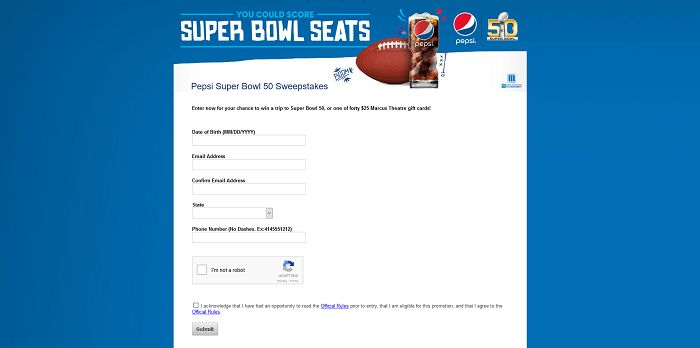 PepsiSB50Tix.com - Pepsi Super Bowl 50 Sweepstakes at Marcus Theatres