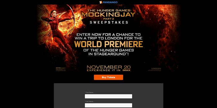 Fandango's The Hunger Games: Mockingjay - Part 2 Sweepstakes