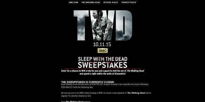 AMC's The Walking Dead Sleep With The Dead Sweepstakes