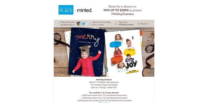 The Children's Place Holiday Outtakes Sweepstakes