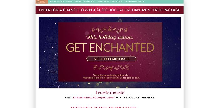O, The Oprah Magazine's Holiday Enchantment Sweepstakes
