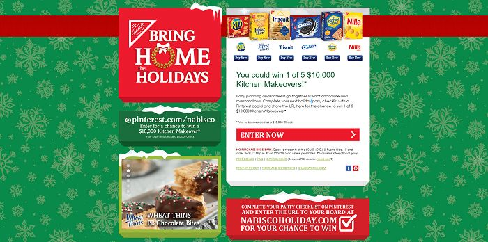 NabiscoHoliday.com - Nabisco 2015 Bring Home The Holidays Sweepstakes