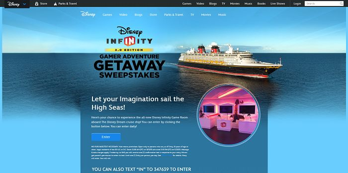 Disney.com/DisneyInfinitySweeps - Disney Infinity 3.0 Gamer Adventure Getaway Sweepstakes