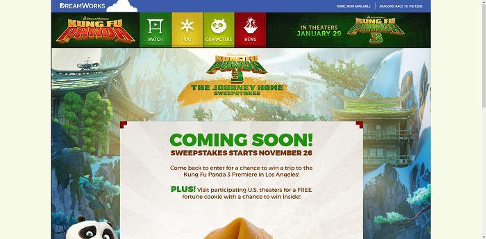KungFuPanda.com/Fortune - Dreamworks Kung Fu Panda 3 The Journey Home Sweepstakes