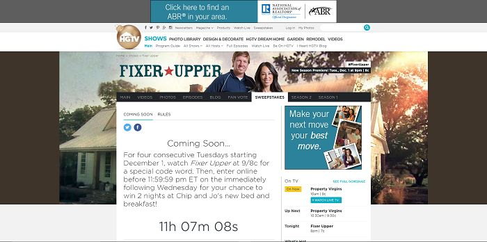 Fixer Upper Ultimate Escape Sweepstakes