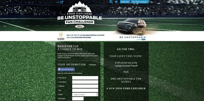 Ford Explorer Be Unstoppable Fan Challenge Promotion (Ford.com/CFP)