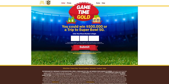 Game Time Gold at McDonald's Online Sweepstakes