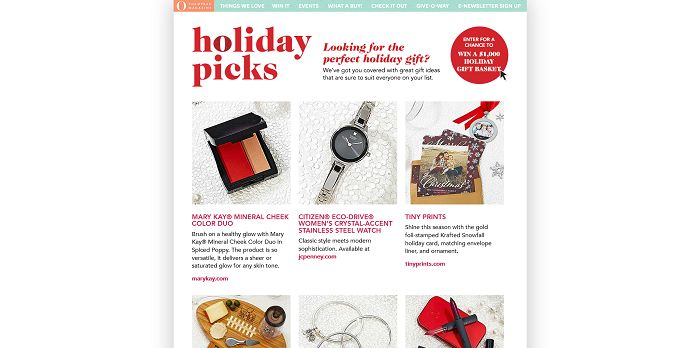 O, The Oprah Magazine's Holiday Picks 2015 Sweepstakes
