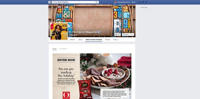 Stacy's Pita Chips Holiday Snacks Sweepstakes (Facebook.com/OprahMagazine)