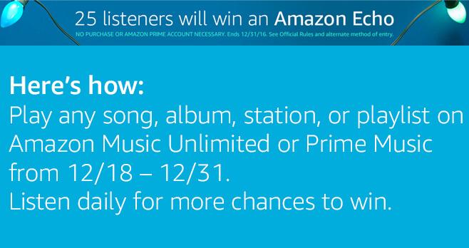 Amazon Music, Amazon Echo Giveaway