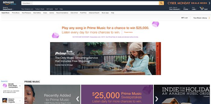 Amazon Prime Music Cyber Monday Sweepstakes
