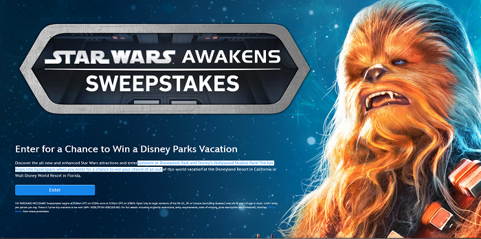 Disney Parks Star Wars Awakens Sweepstakes