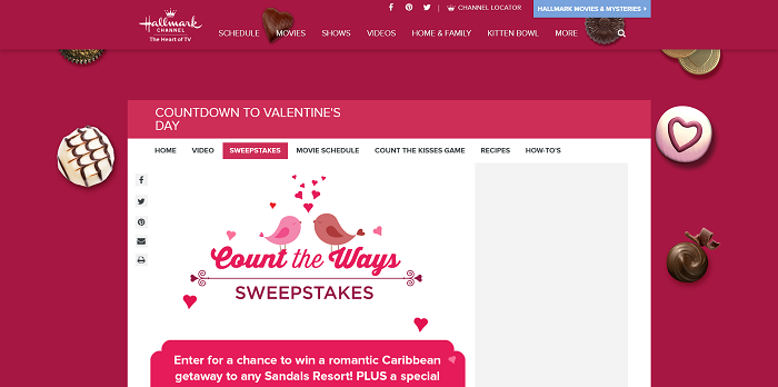 Hallmark Channel's Count the Ways Sweepstakes