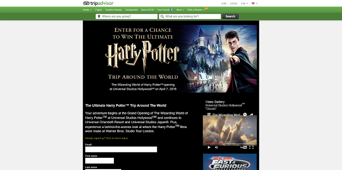 Trip Advisor The Wizarding World of Harry Potter Sweepstakes
