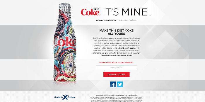 Diet Coke It's Mine Bottle Designer Promotion