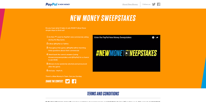 Paypal.com/NewMoneySweeps - PayPal New Money Sweepstakes