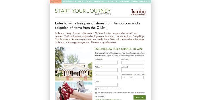 OMagOnline.com/Jambu: O' The Oprah Magazine Start Your Journey Sweepstakes