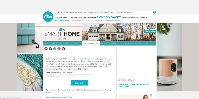 HGTV.com/Smart - HGTV Smart Home 2016 Sweepstakes