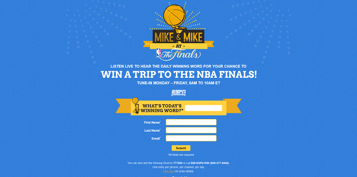 MikesAtTheFinals.com - Mike & Mike At The Finals 2016 Sweepstakes (Winning Word Included)