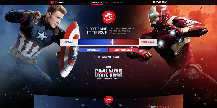 PizzaHut.com/CaptainAmerica - Pizza Hut & Marvel's Captain America: Civil War Sweepstakes 2016