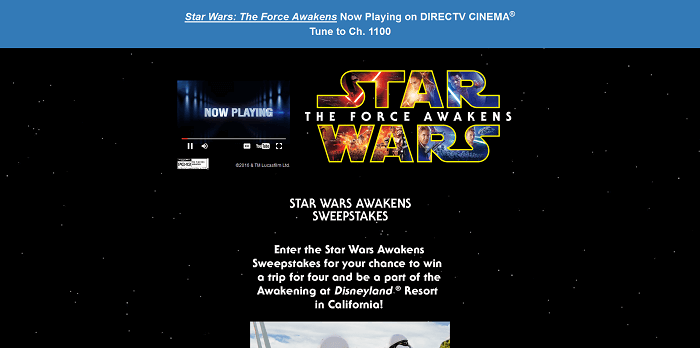 AwakensSweepstakes.com - DirectTV Star Wars Awakens Sweepstakes