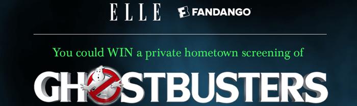Elle.com/GhostbustersSweeps - ELLE Ghostbusters Hometown Screening Sweepstakes