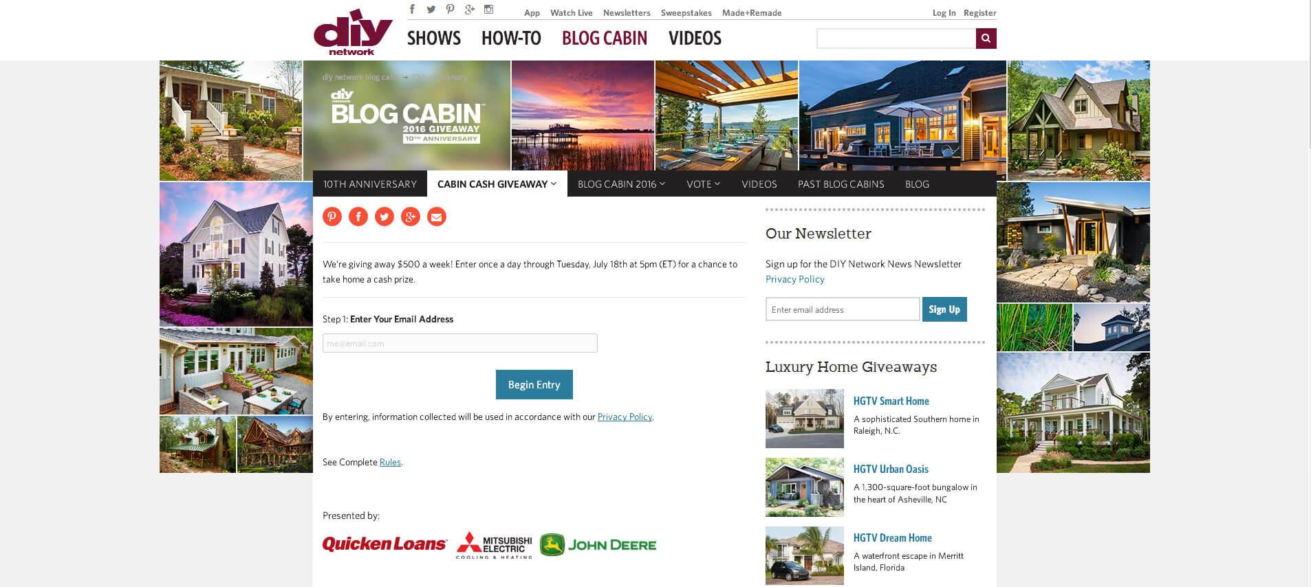 DIY Network Blog Cabin Cash Giveaway