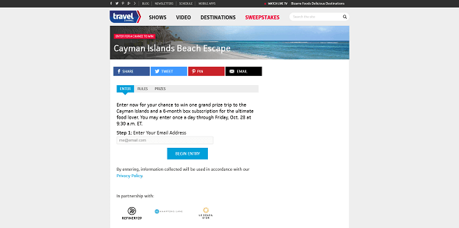 Travel Channel Beach Escape Sweepstakes