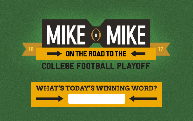 mike and mike sweepstakes mike and mike winning word road to the cfp sweepstakes 848