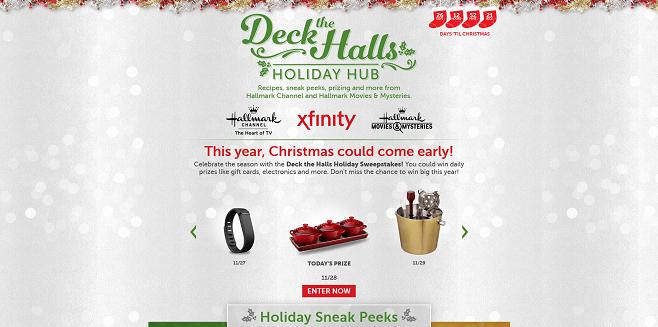 XFINITY Deck the Halls Holiday Sweepstakes 2016 (DeckTheHallsHoliday2016.com)