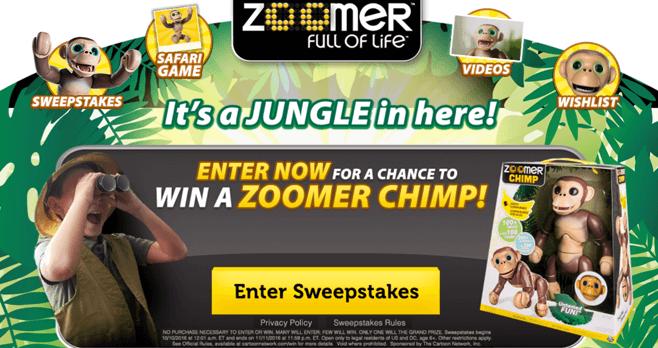 Cartoon Network Zoomer Chimp Sweepstakes (CartoonNetwork.com/Zoomer)